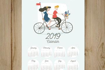2019年创意骑单车的情侣年历矢量素材