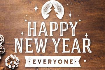 创意木板新年快乐艺术字矢量素材