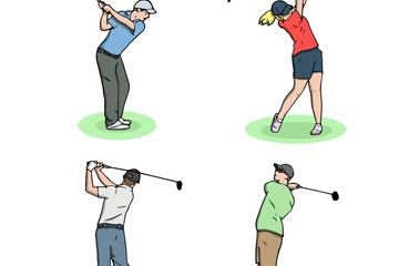 4款创意高尔夫球人物设计矢量图