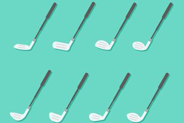 8款白色扁平化高尔夫球杆矢量图