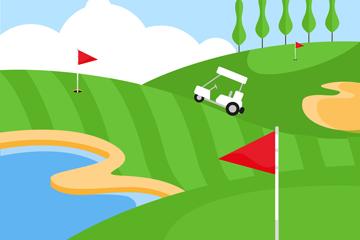 绿色高尔夫球场设计矢量素材