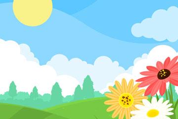 彩色春季郊外草地和花卉矢量图
