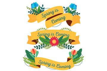 4款扁平化春季花卉条幅矢量素材
