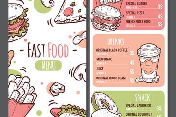 彩绘快餐食物菜单正反面矢量素材