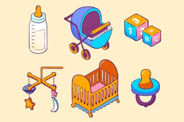 6款彩色立体婴儿用品矢量素材