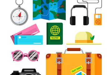 10款扁平化旅行度假物品矢量素材