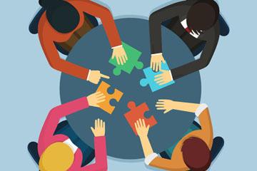 创意团队合作拼图的人物俯视图矢量素材