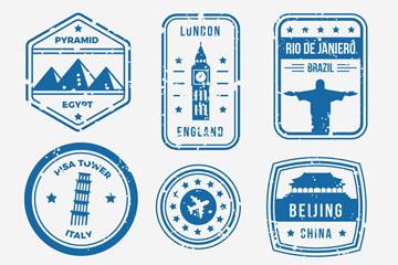9款蓝色旅游城市邮戳矢量图