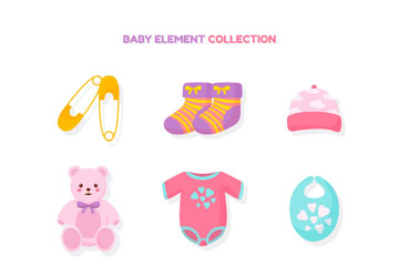 10款彩色婴儿用品设计矢量图
