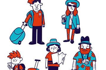 5款彩色手绘旅行人物矢量素材