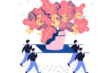 彩绘合作搬货币盆栽的团队人物矢量图
