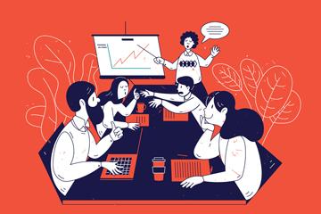 彩绘团队合作会议中的人物矢量图