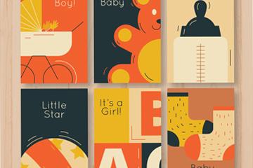 6款复古迎婴卡片设计矢量图