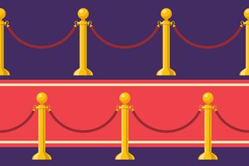 创意礼宾栏杆座和红毯矢量素材