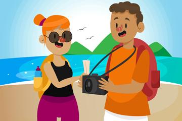 卡通岛屿上度假的男女矢量素材