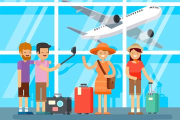 创意在飞机场候机大厅的旅行人物