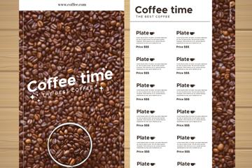 创意咖啡豆咖啡馆菜单正反面矢量图
