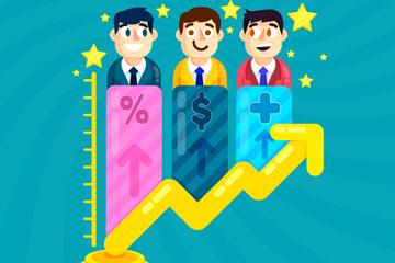 创意业务增长曲线上的团队人物矢量图