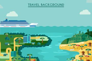 扁平化海边度假区风景矢量素材