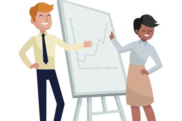 创意合作进行商务演示的男女矢量图