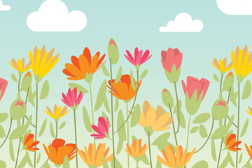 彩色春季蓝天下的花丛矢量图