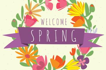 彩色春季花环设计矢量素材