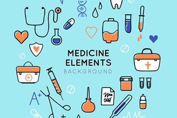 创意医疗元素组合圆环矢量素材