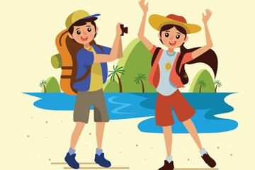 卡通夏季度假的男女矢量素材