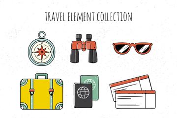 9款手绘旅行物品设计矢量图