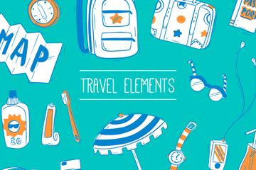 18款手绘旅行元素矢量素材