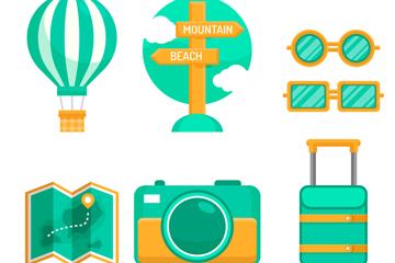 7款绿色旅行物品矢量素材