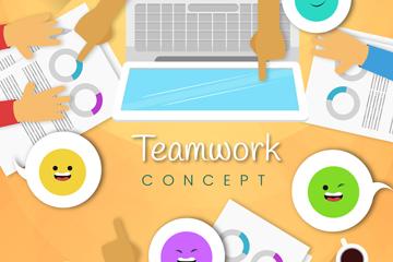 彩色团队合作桌面手臂和语言气泡