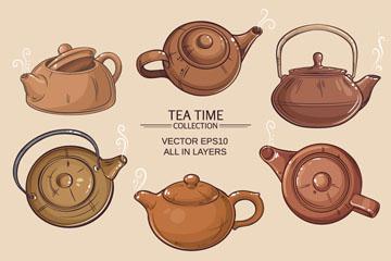 6款卡通茶壶设计矢量素材