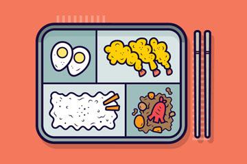 美味便当食物和筷子矢量素材