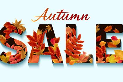 创意树叶装饰秋季销售艺术字矢量图