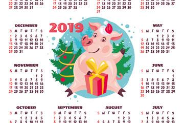 2019年卡通猪年历矢量素材