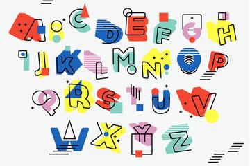 26个彩色孟菲斯风格字母矢量图