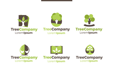 6款绿色树木企业标志矢量素材