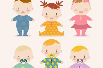 6款卡通婴儿设计矢量素材
