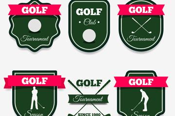 6款纸质高尔夫元素标签矢量图
