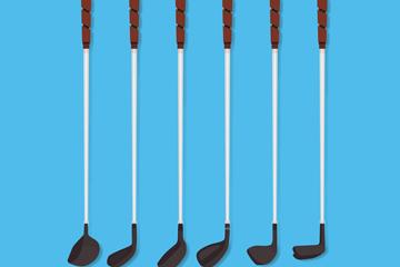 6款黑色高尔夫球杆矢量素材