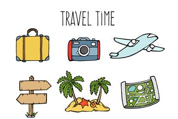 9款彩色旅行时间元素矢量图