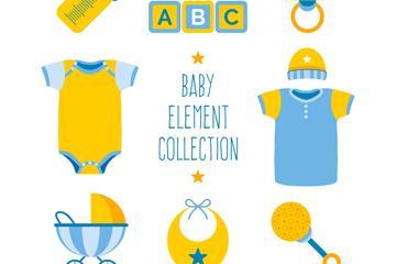 8款蓝色和黄色婴儿物品矢量图