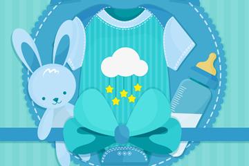 蓝色婴儿爬服和兔子玩偶矢量图