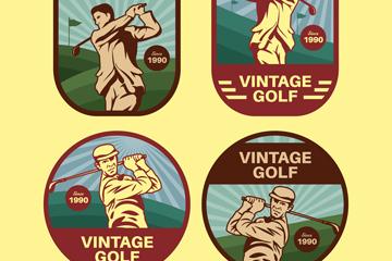 4款复古高尔夫球人物标签矢量图