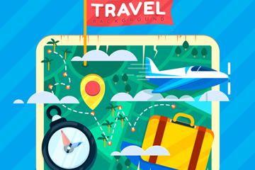 创意方形旅行地图设计矢量图