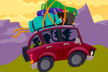 创意度假区自驾游车辆矢量图