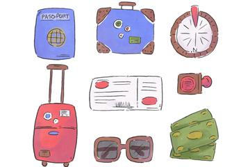 8款水彩绘旅行元素矢量素材