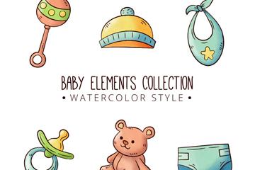6款可爱水彩绘婴儿用品矢量素材