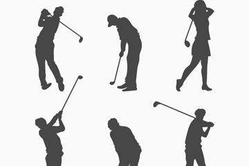 6款创意高尔夫动作剪影矢量图